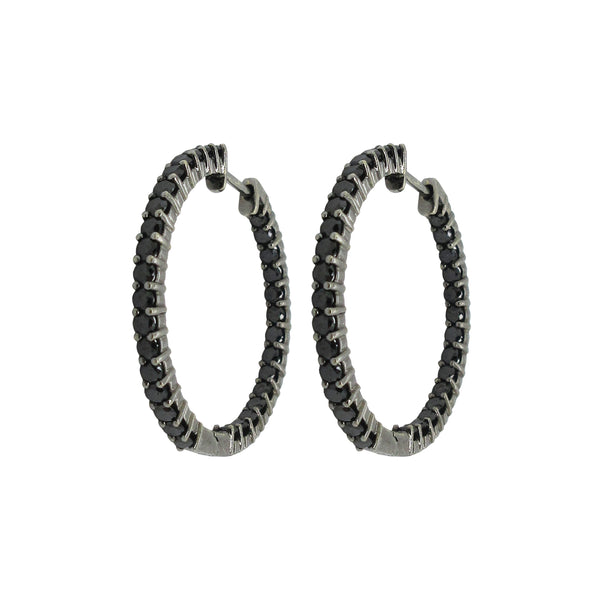 14K GOLD BLACK DIAMOND DEBRA HOOPS