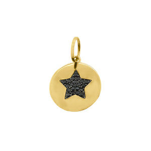 14K GOLD BLACK DIAMOND STAR DISC CHARM