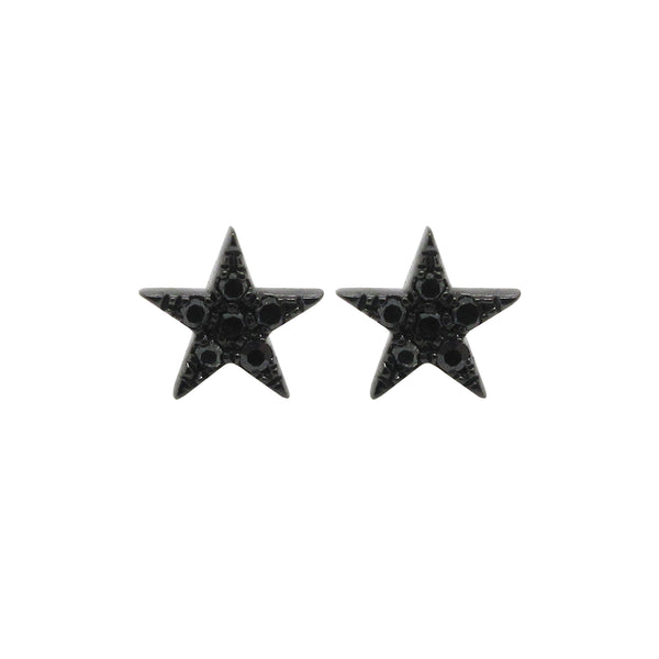 14K GOLD BLACK DIAMOND RENEE MINI STAR STUDS