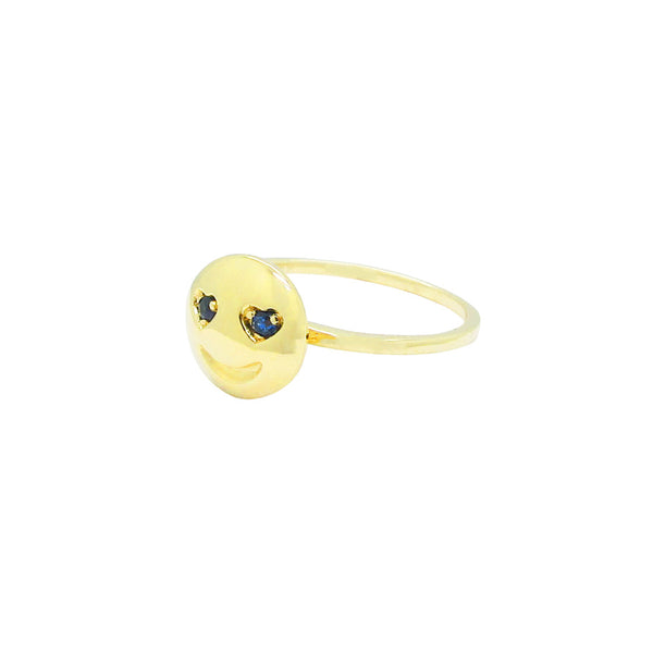 14K GOLD RUBY OR BLUE SAPPHIRE EMOJI RING