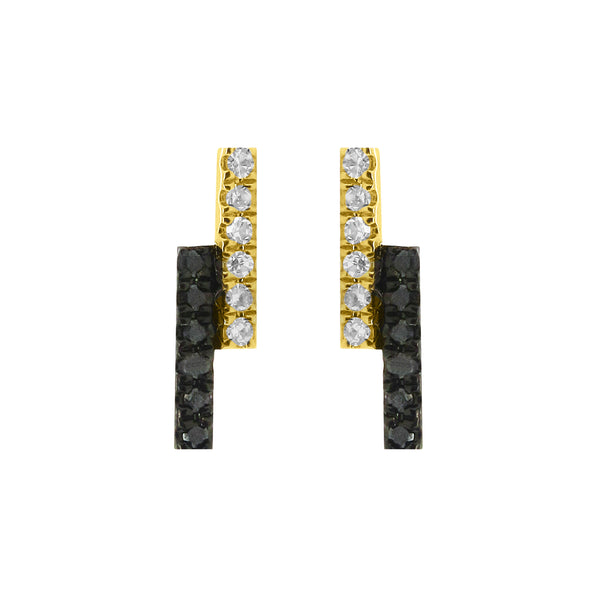 14K GOLD BLACK AND WHITE DIAMOND BREE STUDS