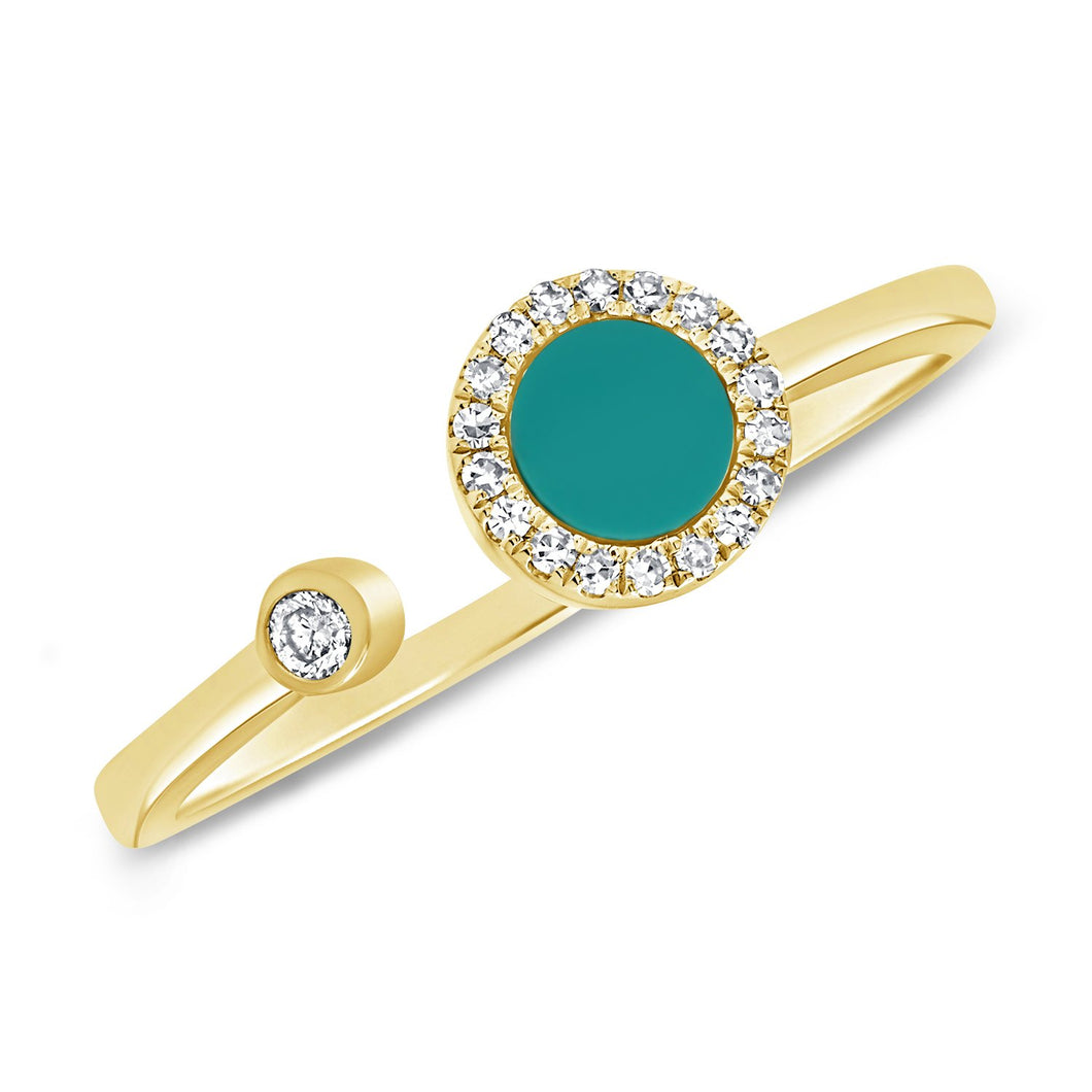 14K GOLD DIAMOND AND TURQUOISE LIELLE OPEN CIRCLE RING