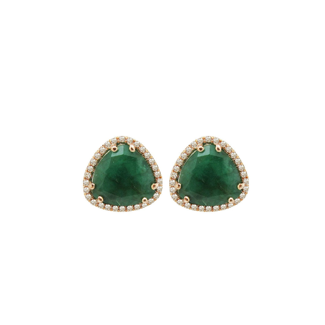 Diamond and Emerald Lizzie Studs in 14k Rose Gold