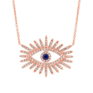 Sapphire and Diamond Eye Necklace in 14k Gold (All Colors)