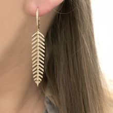 14K YELLOW GOLD DIAMOND MEDIUM FEATHER EARRINGS