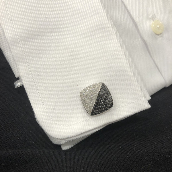 14K WHITE GOLD BLACK AND WHITE DIAMOND  JAMES CUFFLINKS