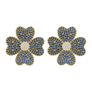 18K GOLD DIAMOND AND BLUE SAPPHIRE JOLIE EARRINGS