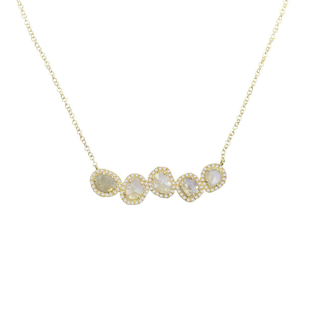 14K  GOLD DIAMOND SLICE NECKLACE (ALL COLORS)