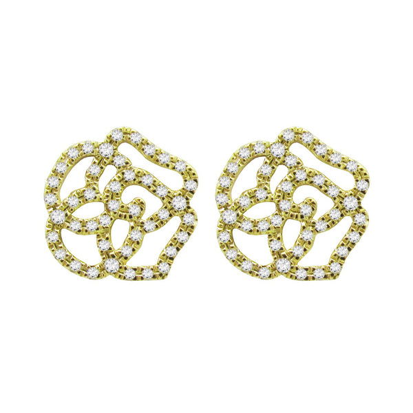 14K GOLD DIAMOND MEDIUM CAMILIA STUDS