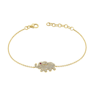 14K GOLD DIAMOND MARCELLE ELEPHANT BRACELET