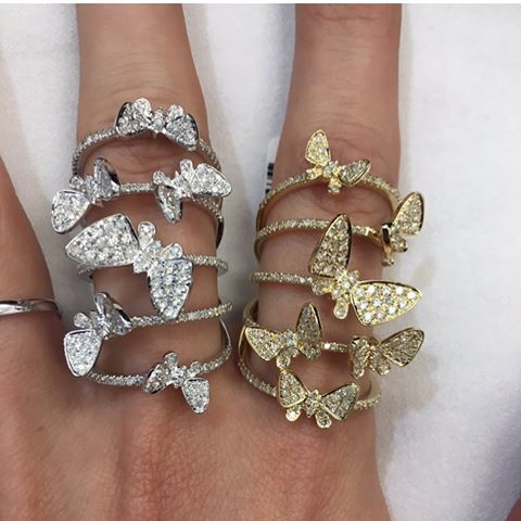14K WHITE GOLD DIAMOND BUTTERFLY ELEGANCE RING