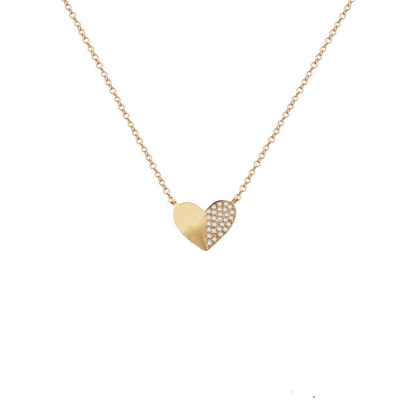 14K GOLD DIAMOND DAPHNE HEART NECKLACE