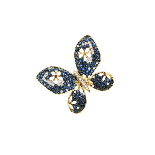 Sapphire and Diamond Janea Butterfly Ring in 14k Rose Gold