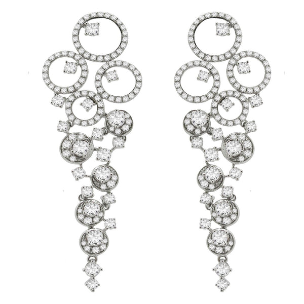 14K WHITE GOLD DIAMOND KELLY EARRINGS