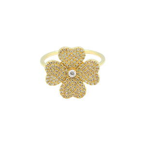 14K GOLD DIAMOND KATE FLOWER RING