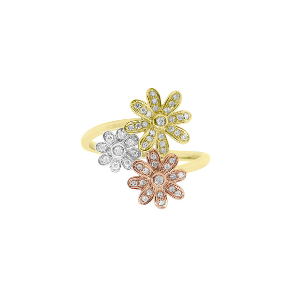 14K GOLD DIAMOND MARIANA FLOWER RING