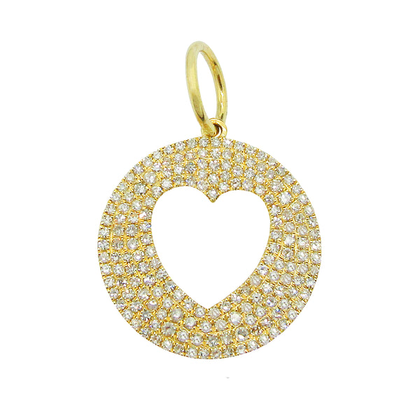 14K YELLOW GOLD DIAMOND HEART DISC CHARM