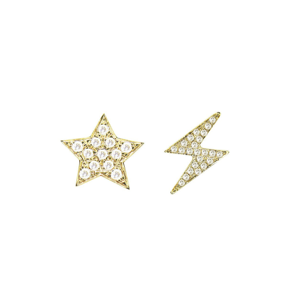 14K YELLOW GOLD DIAMOND STAR AND LIGHTNING MISMATCHED STUDS