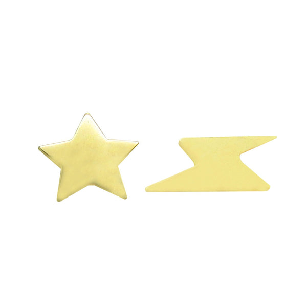14K GOLD STAR LIGHTNING STUDS
