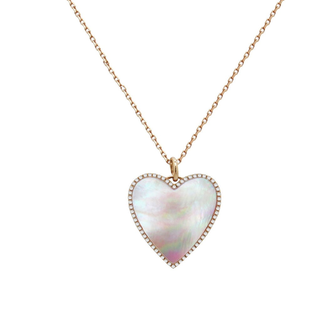 PINK MOTHER OF PEARL AND DIAMOND HEART NECKLACE IN 14K ROSE GOLD