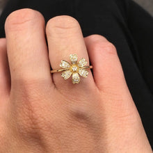 14K YELLOW GOLD PETITE DIAMOND FLOWER RING