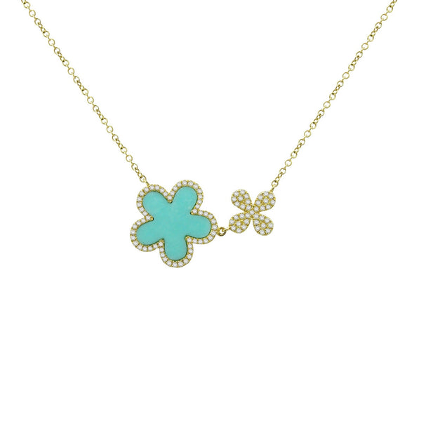 14K GOLD DIAMOND TURQUOISE ALLISON NECKLACE