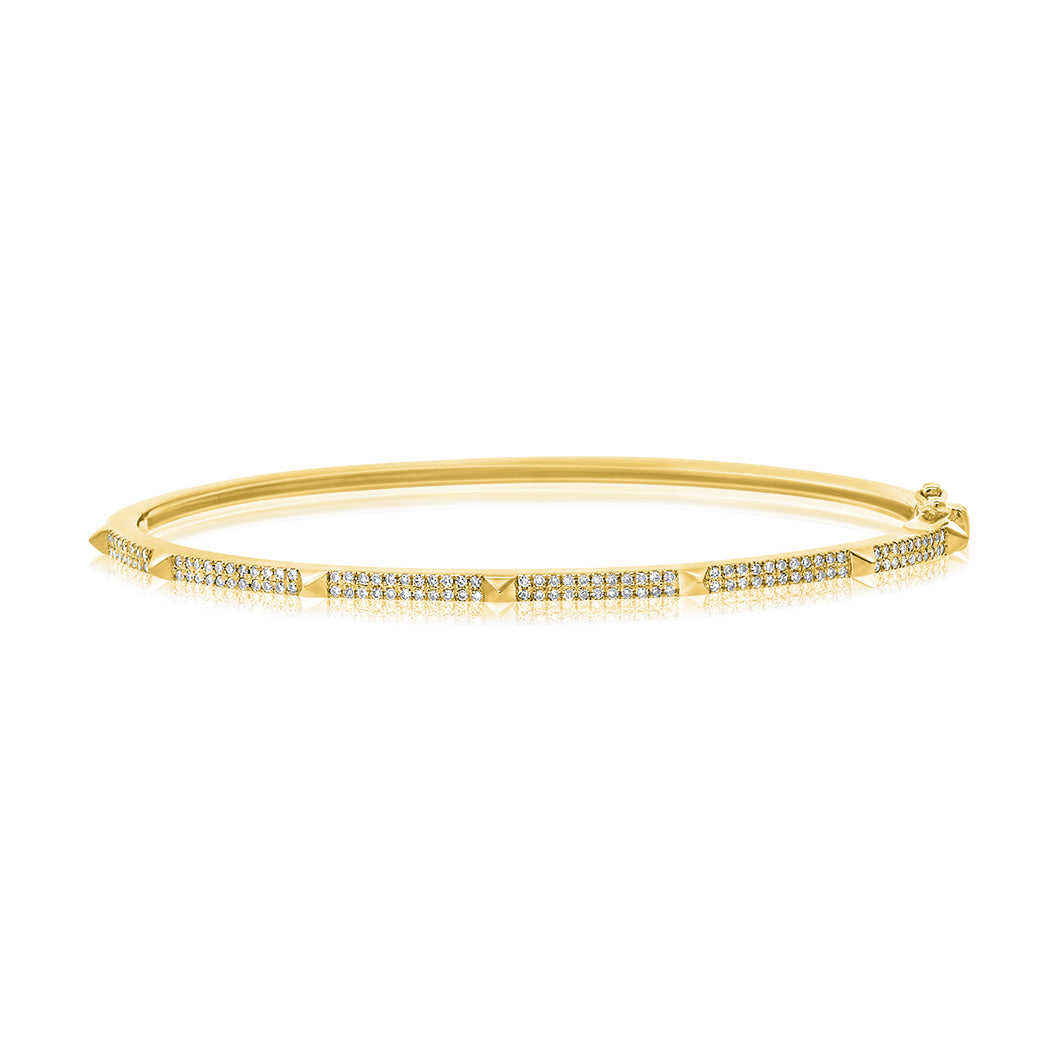 14K GOLD DIAMOND MINI SAMMY SPIKE BANGLE