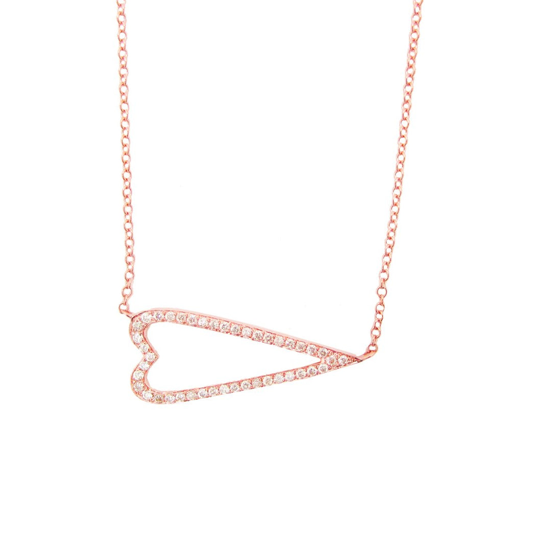 14K GOLD DIAMOND HENRIETTA HEART NECKLACE (ALL COLORS)