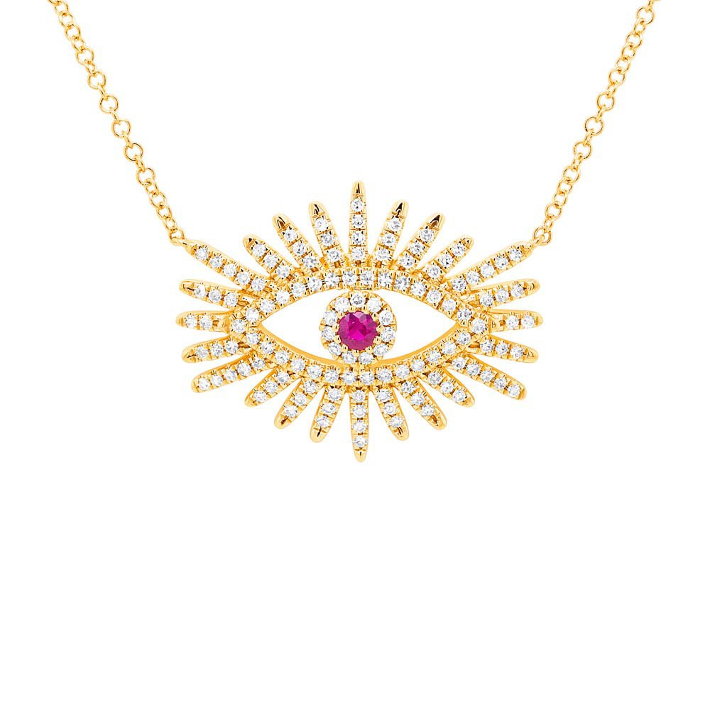 14K GOLD DIAMOND RUBY CELIA NECKLACE (ALL COLORS)