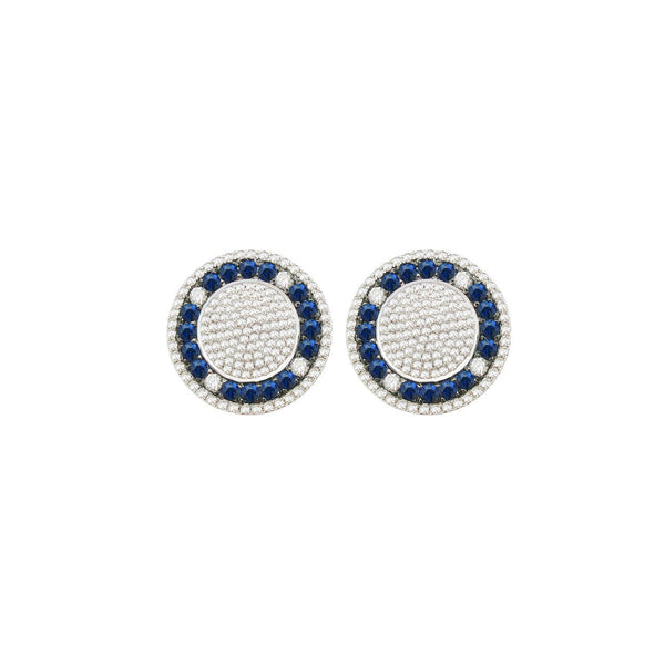 Diamond and Blue Sapphire Ryan Cufflinks in 14k White Gold