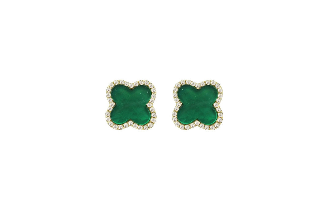 Diamond and Green Agate Jenna Clover Studs in 14k Yellow Gold