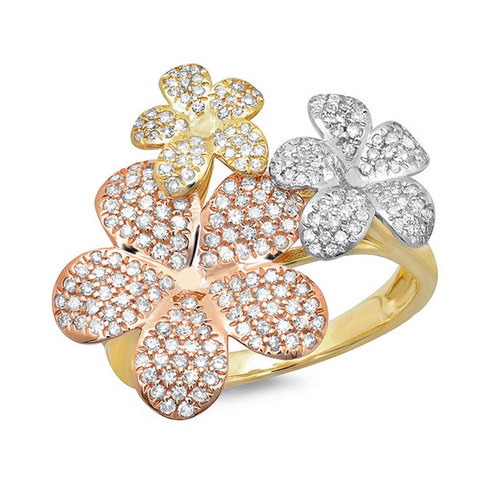 DIAMOND PAVE RING IN 14K THREE-TONE GOLD