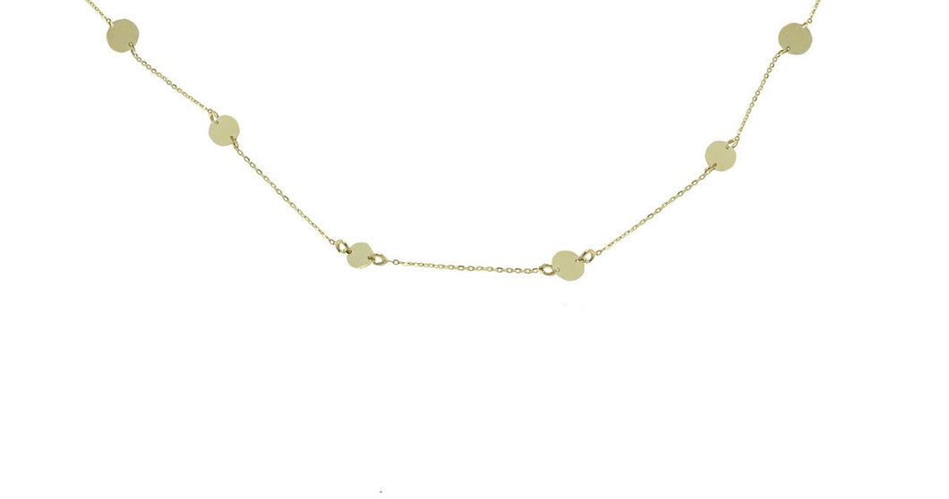 Five Station Circle Necklace in 14k Yellow Gold