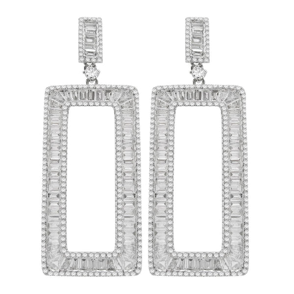 14K GOLD DIAMOND BAGUETTE EARRINGS