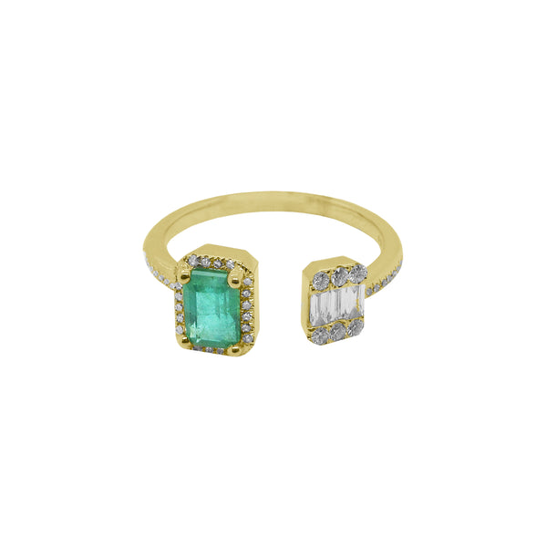 14K GOLD DIAMOND AND EMERALD NYLA RING