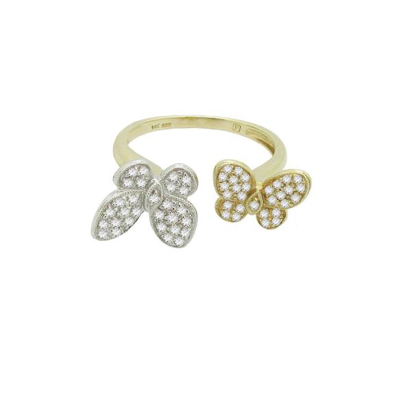 14K GOLD DIAMOND LILLY BUTTERFLY RING