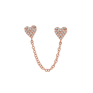 14K GOLD DIAMOND DOUBLE HEART EARRING