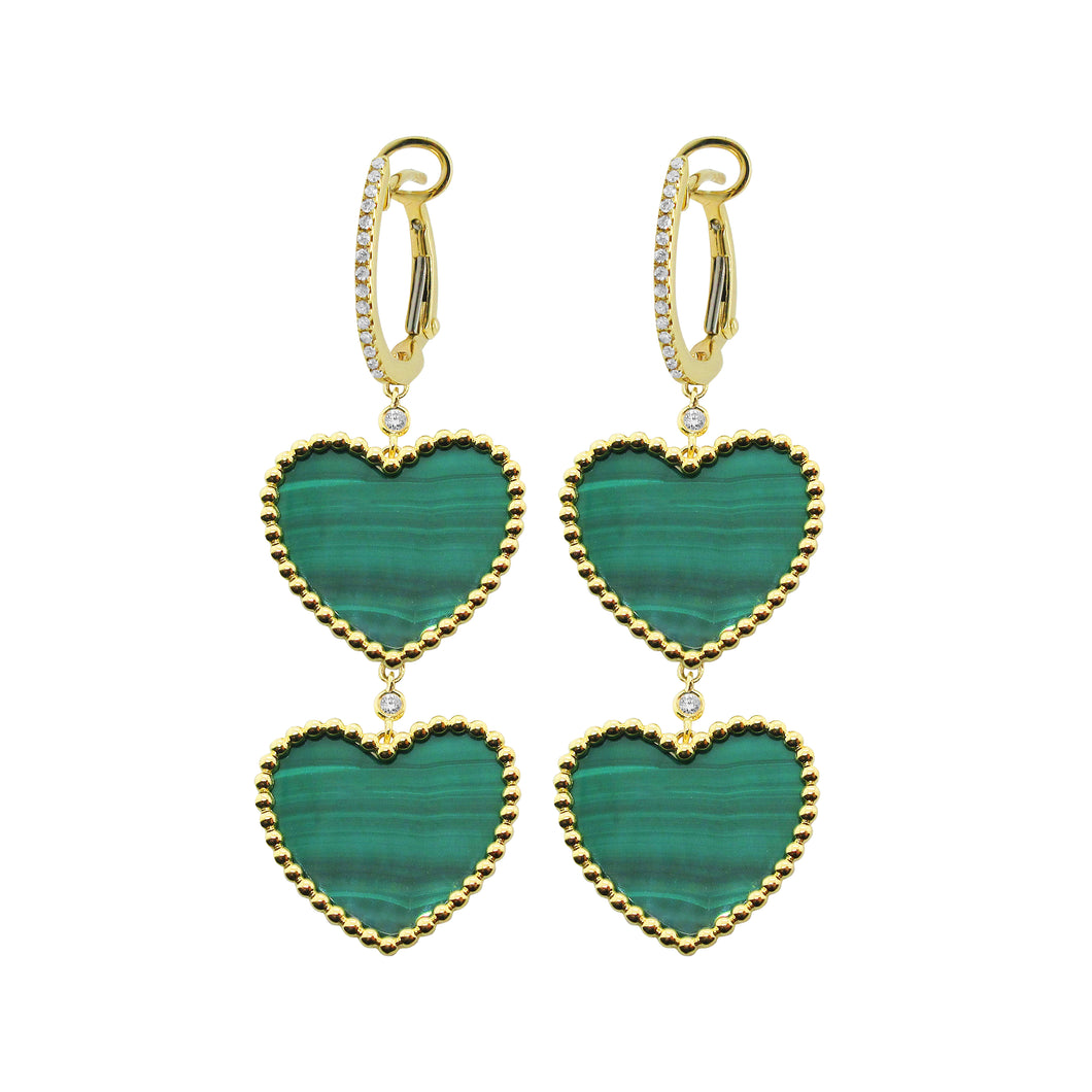 14K GOLD DIAMOND AND MALACHITE POSY HEART EARRINGS