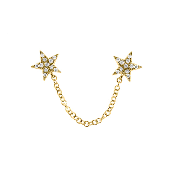 14K GOLD DIAMOND DOUBLE STAR STUD
