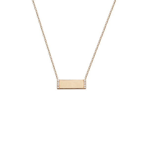 14K GOLD DIAMOND MINI ID BAR NECKLACE (ALL COLORS)