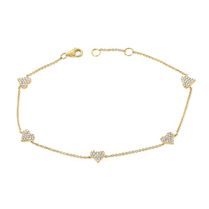 14K GOLD DIAMOND WILLOW HEART BRACELET