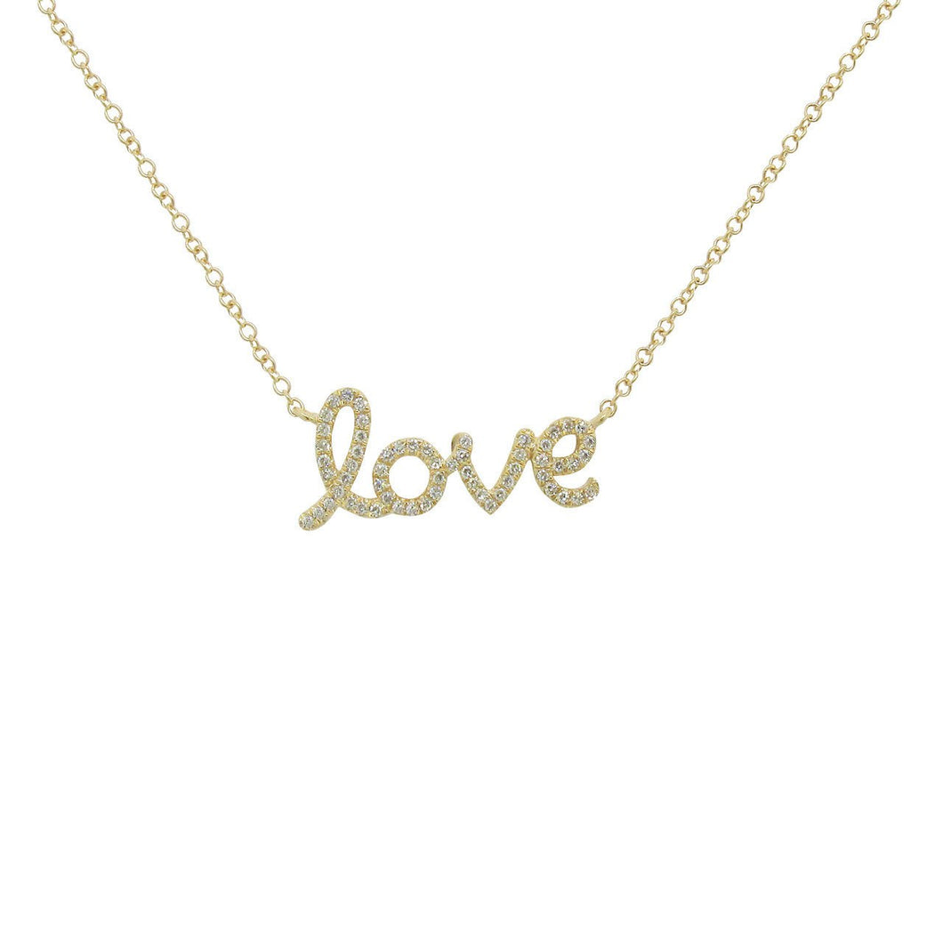 14K GOLD DIAMOND LOVE NECKLACE (ALL COLORS)