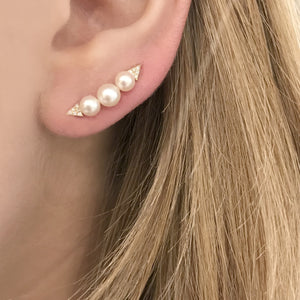 14K GOLD PEARL DIAMOND EAR CRAWLERS (ALL COLORS)
