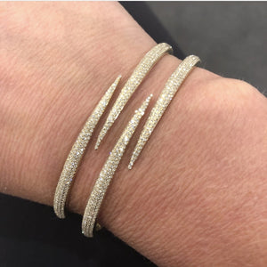 14K YELLOW GOLD DIAMOND DOUBLE CLAW BANGLE