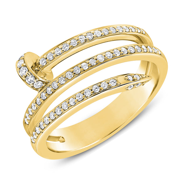 14K GOLD DIAMOND HAZEL NAIL RING