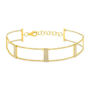 14K GOLD DIAMOND LADDER BRACELET (ALL COLORS)