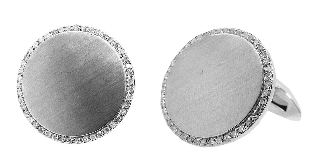 Diamond Circle Engravable Cufflinks in 14k White Gold