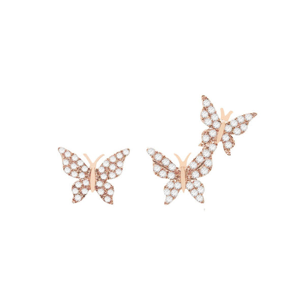 14K GOLD DIAMOND BECCA BUTTERFLY STUDS (ALL COLORS)