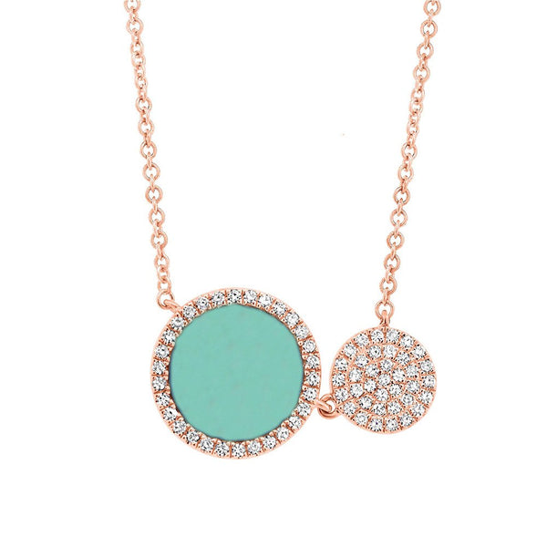 14K GOLD DIAMOND TURQUOISE LIELLE NECKLACE
