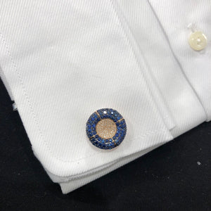 14K GOLD DIAMOND AND BLUE SAPPHIRE SCOTT CUFFLINFS
